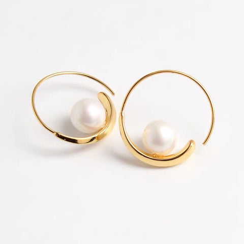 18K Gold Plated Threaded Hoop Faux Pearl Earrings