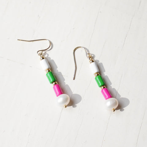 Multicolored Enamel Tube Beads Pearl Drop Earrings