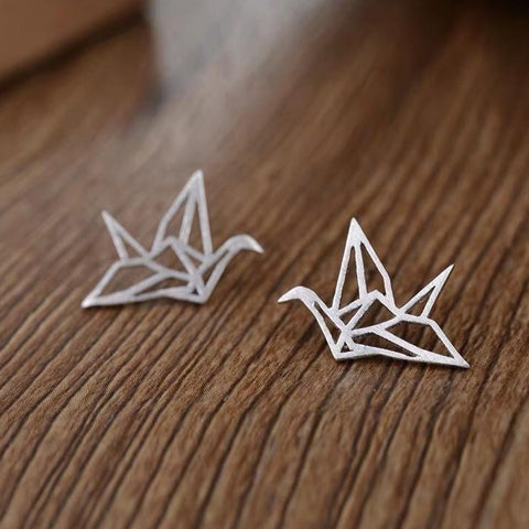 Sterling Silver S925 Paper Crane Studs Earrings