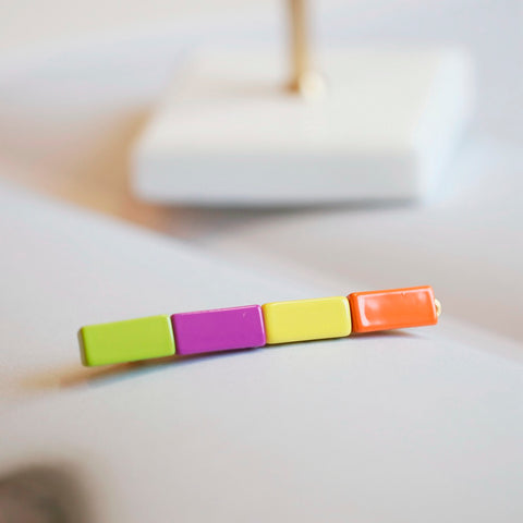 Enamel Colorblocked Rainbow Tile Hair Clip