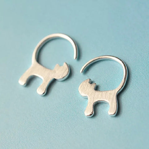 Sterling Silver S925 Cat Hoop Earrings