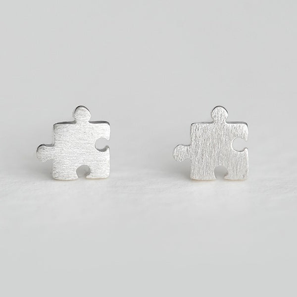 Sterling Silver S925 Puzzle Stud Earrings