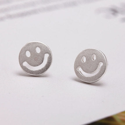 Sterling Silver S925 Smiley Face Studs Earrings