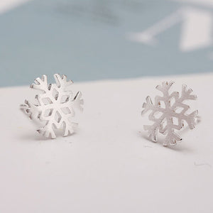 Sterling Silver S925 Snowflakes Studs Earrings
