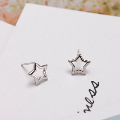 Sterling Silver S925 Star Studs Earrings