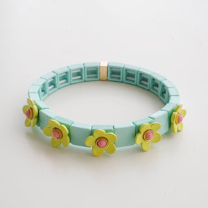 Daisy Enamel Tile Stretch Bracelet Mint