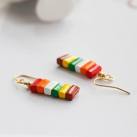 Rainbow Enamel Rectangle Beads Drop Earrings Candy
