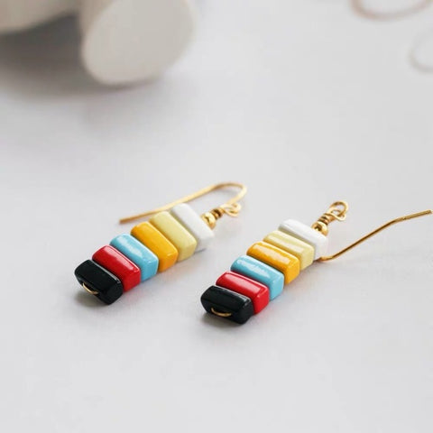 Rainbow Enamel Rectangle Beads Drop Earrings Dark Sea