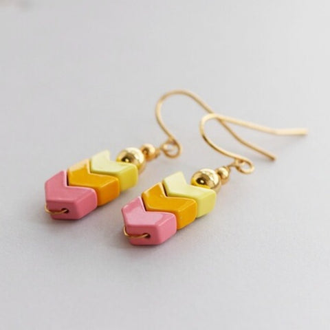 Multi-colored Enamel Chevron Drop Earrings