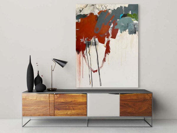 Original abstract painting in a room with furniture with colors red, black, green, cream and white