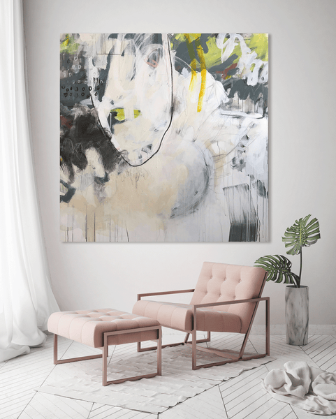 Original abstract painting in a room with furniture with colors green, yellow, black, grey, cream