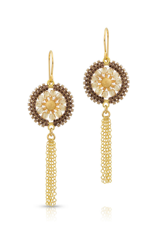Handcrafted gold-filled hooks gracefully suspend macramé silk knotted medallions of glass beads and a dainty gold center bead.