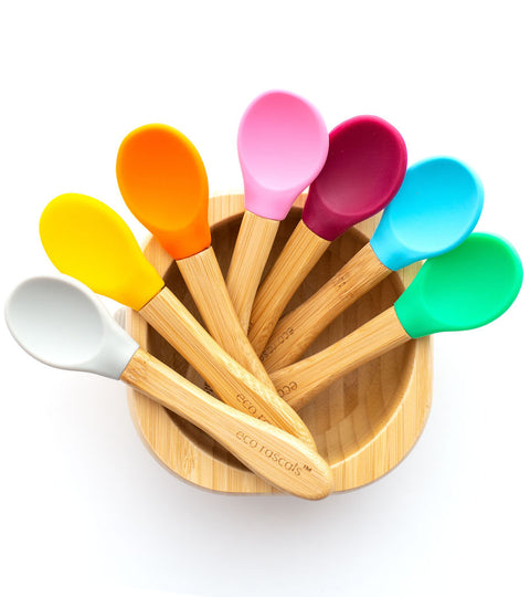 eco rascals bamboo handle with silicone spoon feeders in bright colours