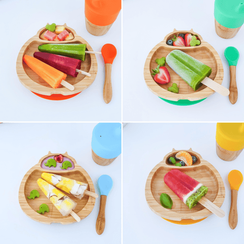 eco rascals bamboo ladybird plates with ice lollies