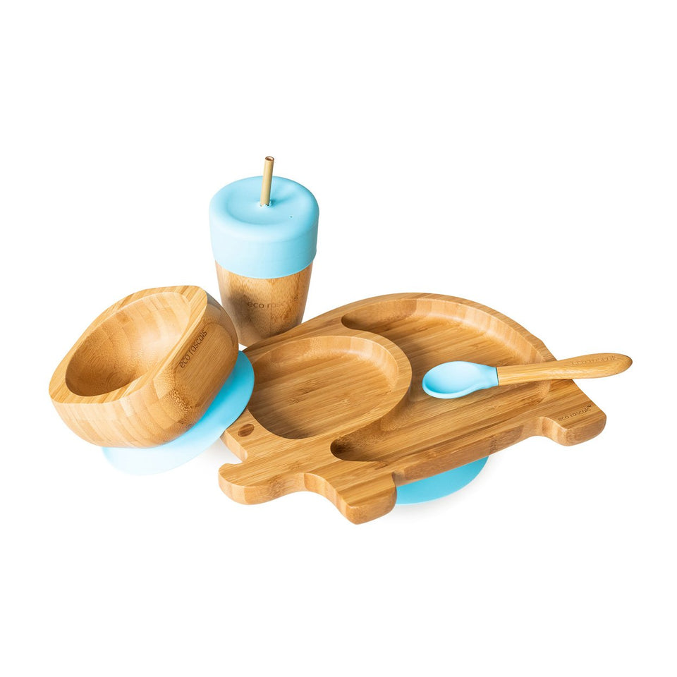Elephant section plate gift set - one suction plate, bowl, spoon and cup
