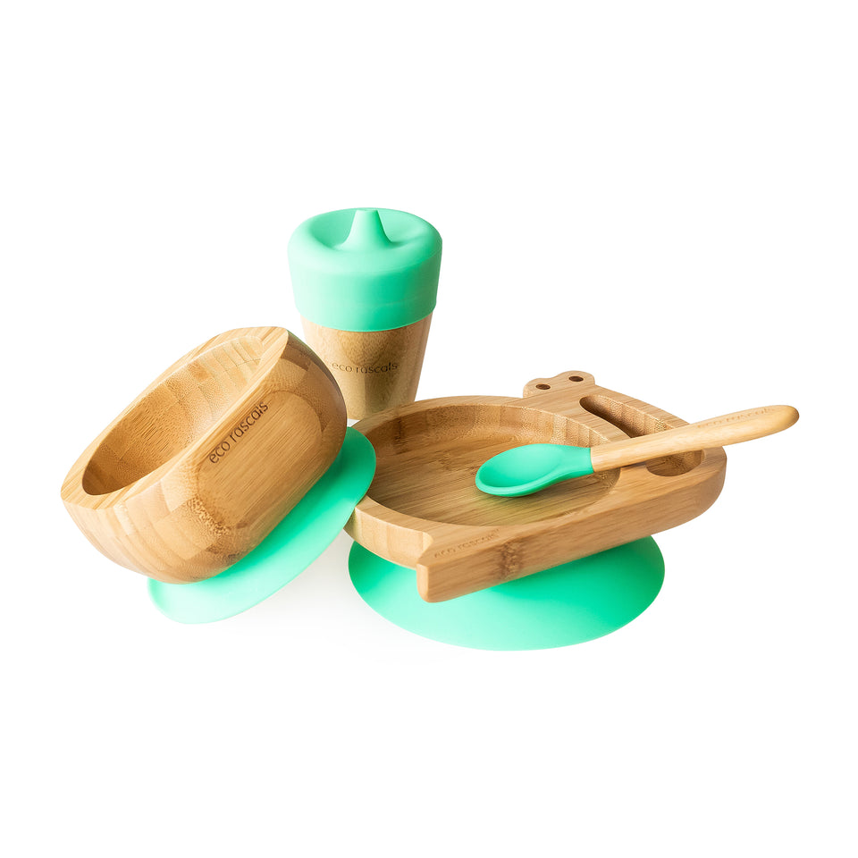 Snail section plate gift set - one bamboo suction plate, bowl, spoon and cup
