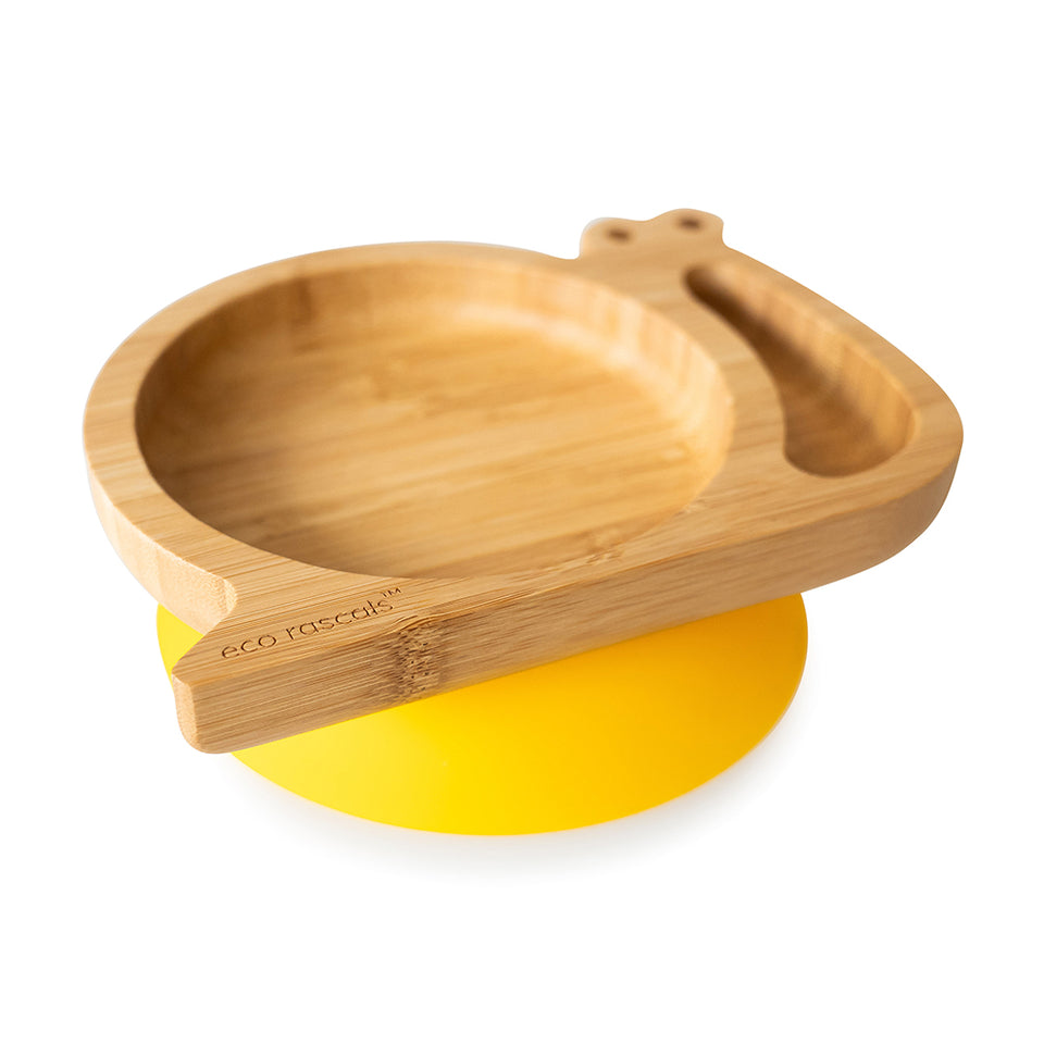 bamboo suction and section snail shaped plate-Ecorascals
