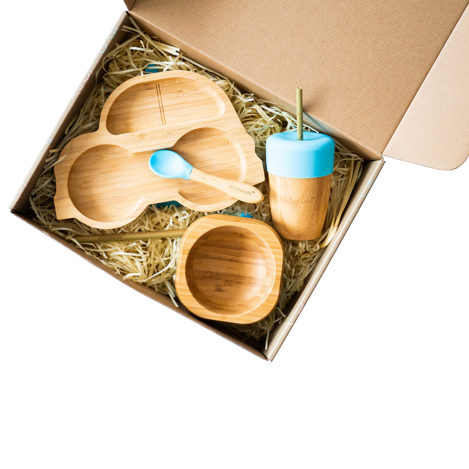 eco rascals™ essential bamboo weaning set with car shaped plate, bowl and spoons