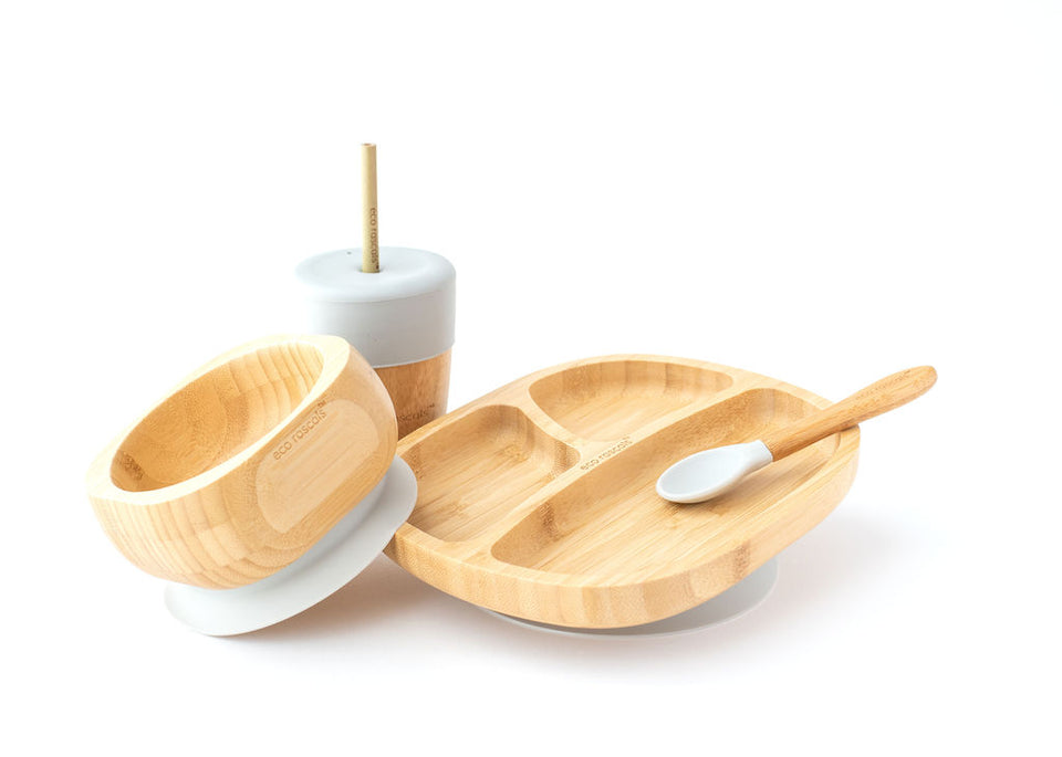 Bamboo toddler suction plate, bowl, spoon and cup gift set