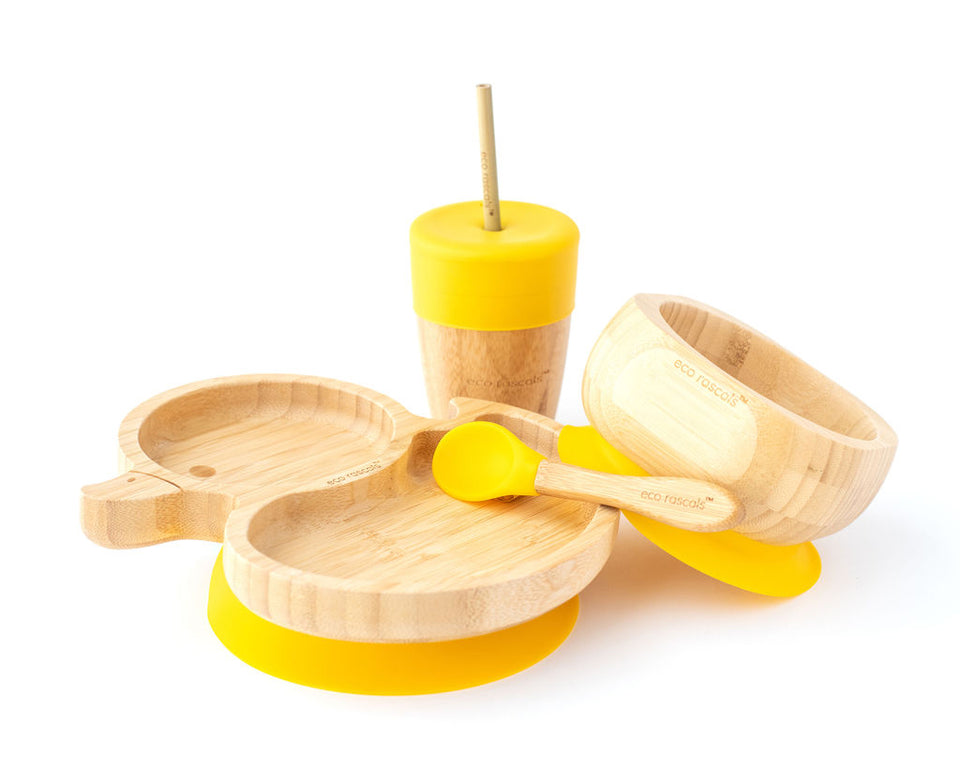 Duck shaped suction plate and bowl set with straw cup