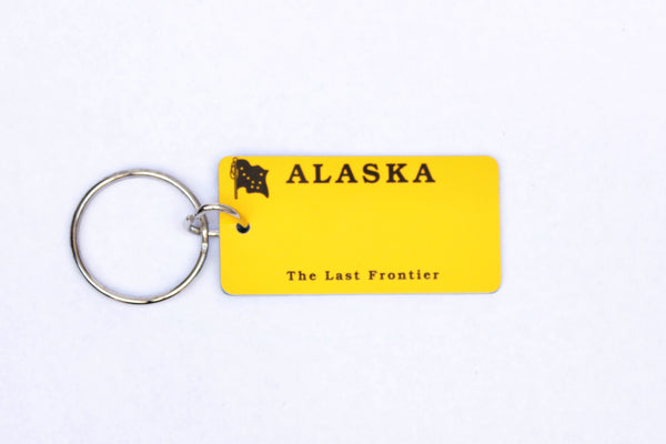 Alaska Yellow License Plate Keychain
