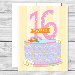 Celebrate her sweet 16! Hand drawn birthday card