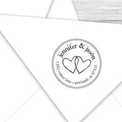 Round Wedding Hearts Return Address Stamp