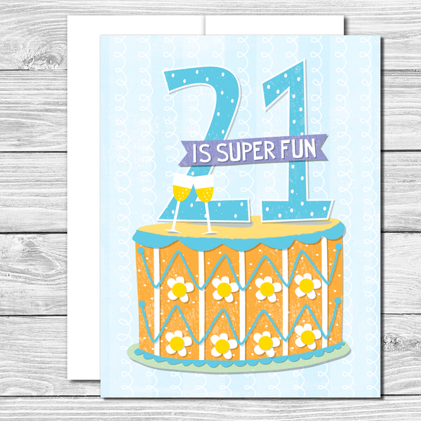 Celebrate their 21st! Hand drawn birthday card