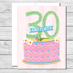 Celebrate her 30th! Hand drawn birthday card