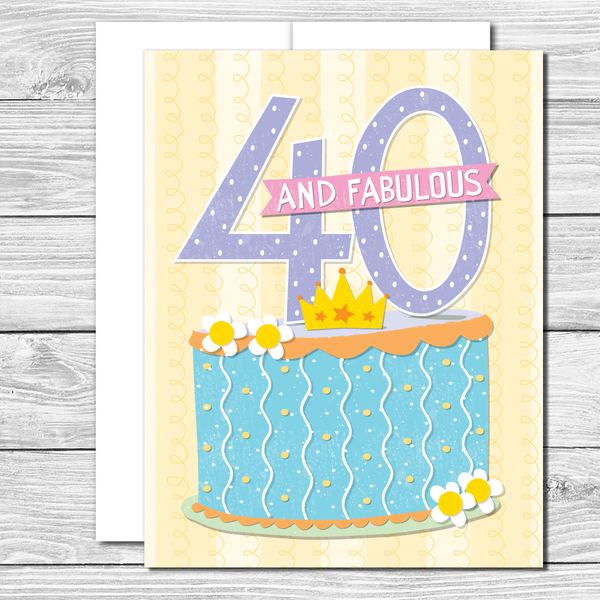 40 and fabulous! Hand drawn birthday card
