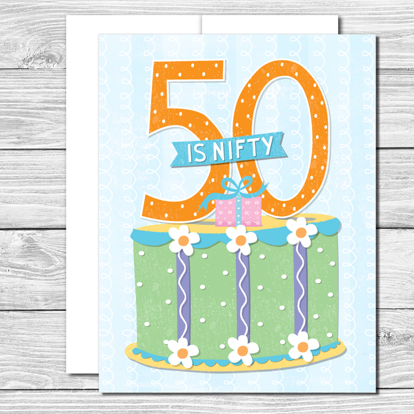50 is nifty! Hand drawn birthday card