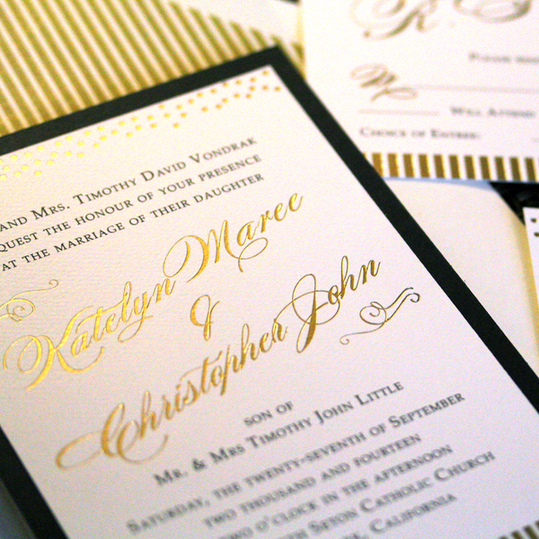 Gold & black wedding invitation suite