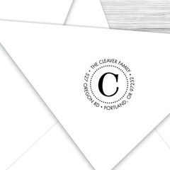 Round Address Stamp with Initial--Style C
