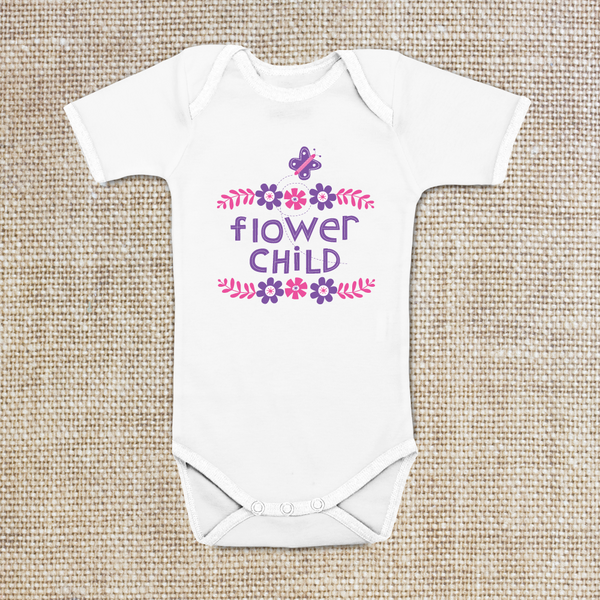 Flowers and butterflies Onesie, Baby Bodysuit, 100% cotton, 6 mo, 12 mo