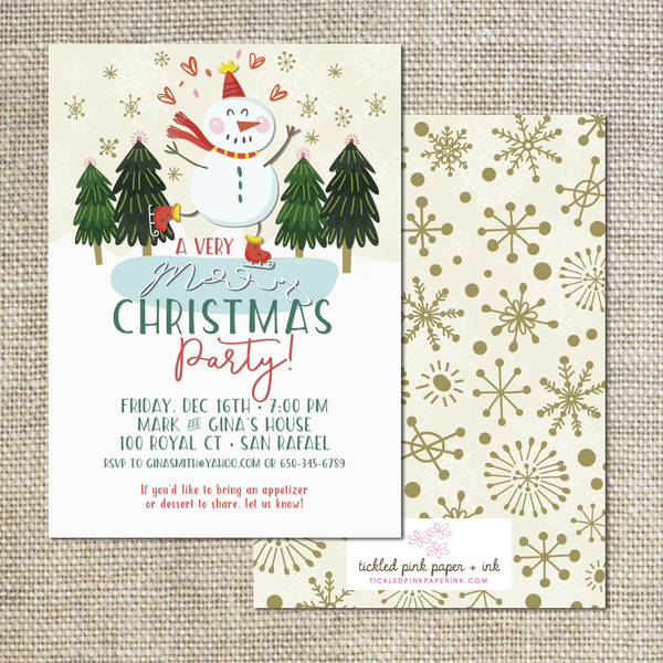 a very merry christmas invitation tickled pink paper ink