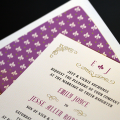 Mardi Gras wedding invitation suite