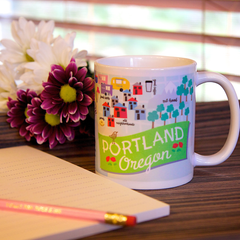 Coffee Mug with map of PDX Portland, Oregon, ceramic mug, unique coffee mug gift