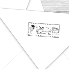 Rectangle Address Stamp with Daisies