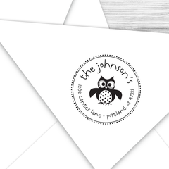 Round Return Address Stamp with Owl