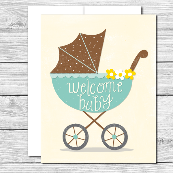 Welcome baby! Hand drawn greeting card