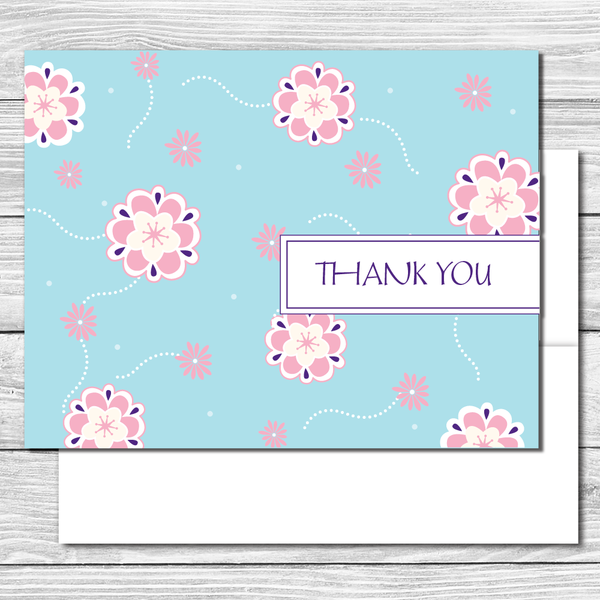 Thank you Notes--Blue with Pink Flowers