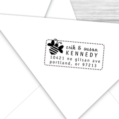 Rectangle Address Stamp with Bumblebee