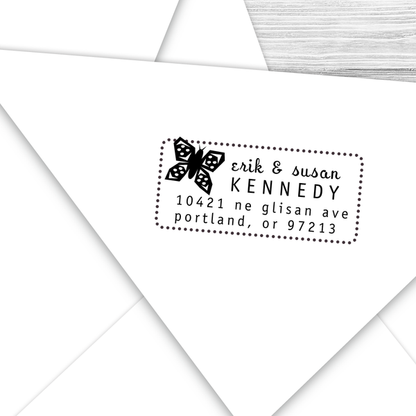 Rectangle Address Stamp with Butterfly