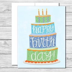 Celebrate with a big cake! Hand drawn birthday card
