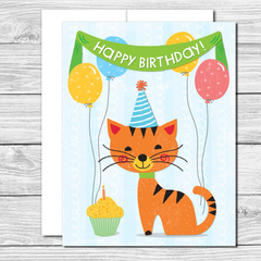 Happy Birthday Kitty! Hand drawn birthday card