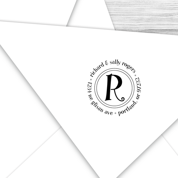 Round Address Stamp with Initial--Style R