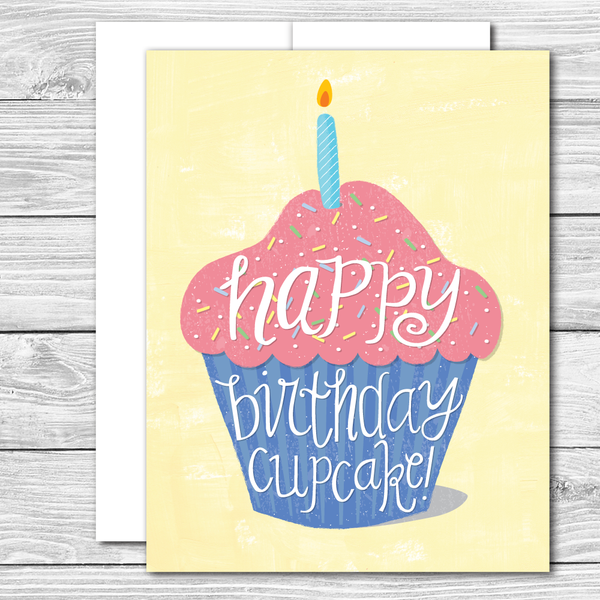Happy Birthday Cupcake! Hand drawn birthday card