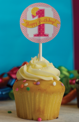 Pink Lemonade Party Cupcake Toppers