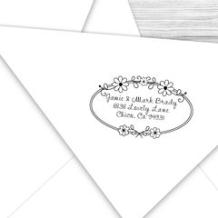 Address Stamp with Daisy Border