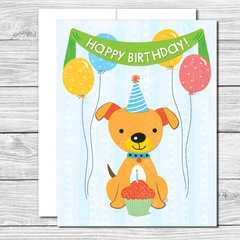 Happy Birthday Puppy! Hand drawn birthday card